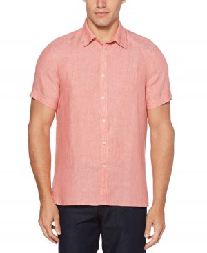 Perry Ellis Men's Short Sleeve Solid Linen Chambray Shirt in Mineral Red