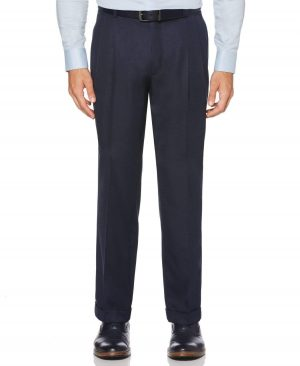 Perry Ellis Men's Classic Fit Non-Iron Double Pleat Dress Pants in Twilight/Blue