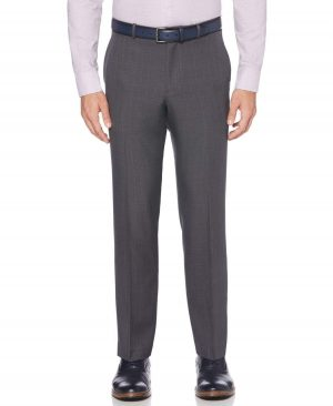 Perry Ellis Men's Modern Fit Performance Plaid Portfolio Dress Pants in Charcoal/Gray