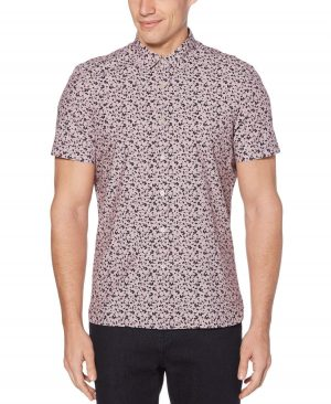 Perry Ellis Men's Slim Fit Abstract Floral Print Shirt in Rhododendron/Red