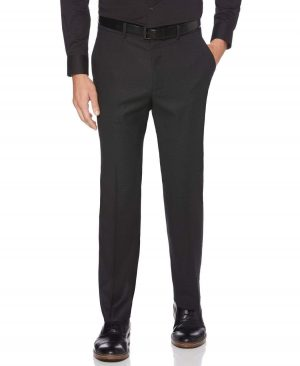 Perry Ellis Men's Classic Fit Non-Iron Woven Portfolio Dress Pants in Black