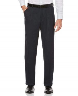 Perry Ellis Men's Double Pleat Classic Fit Melange Portfolio Dress Pants in Twilight/Blue