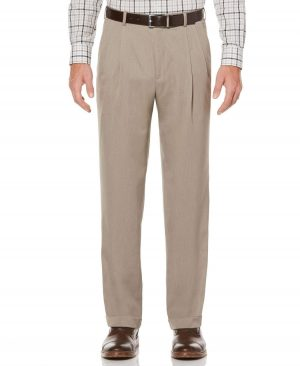 Perry Ellis Men's Big And Tall Double-Pleat Melange Portfolio Dress Pants in Simply Taupe/Beige