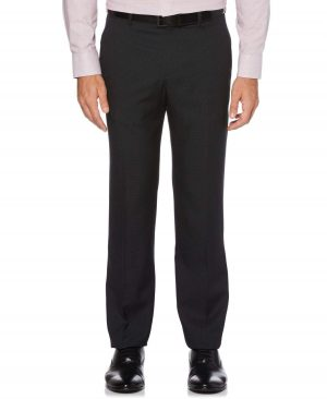 Perry Ellis Men's Modern Fit Check Washable Dress Pants in Black