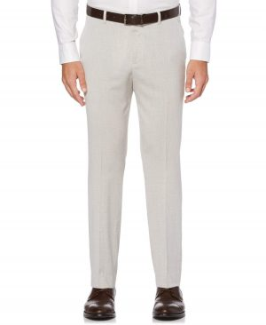Perry Ellis Men's Slim Fit End-on-End Suit Pant in Natural Linen/Beige